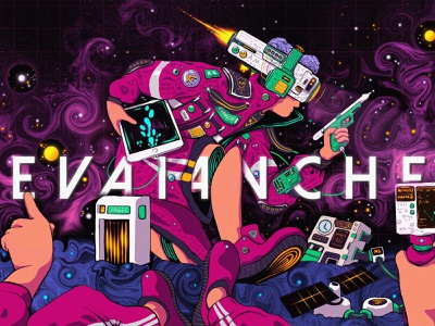 Cyberpunk 04 : Space Maniac liquidmotion shoes fantasy sci-fi sciart sci fi astronaut apple ipad procreate vr star alien space aesthetic abstract liquid cyber punk cyber cyberpunk