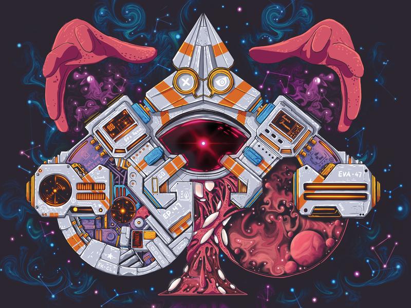 Cyberpunk 05 cyberpunk vr star nebula heart mechanic universe hand astronaut scifi scifiart space liquid motion abstract liquid spade ace poker playing-card card