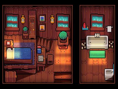 Pixel Sweet Home 01 bedroom light sun window wood toilet bed room game home pixel