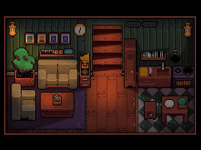 Pixel Sweet Home 02 cook sofa pixel art pixel wood room living room