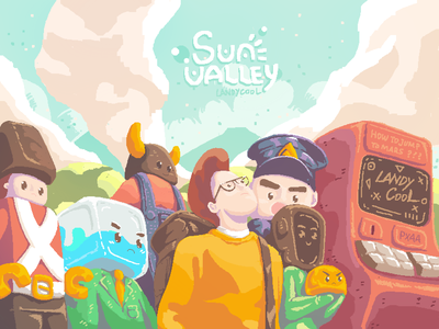 PIXEL! Sun Valley sunset farm cloud valley sun pixels pixel art pixelart pixel
