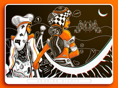 Arabian Nights tiger desert prince moon arab arabic logo arabian jasmine aladdin
