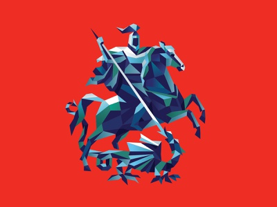 Low poly coat of arms of Moscow russia battle weapon armor victory grains beast dragon horse knight illustration lowpoly moscow coatofarms