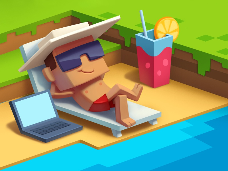 May 14 - Freelancers day in Russia minecraft beach cocktail 3d voxel relax rest freelancer freelance