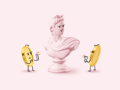 Art investment vc character simple stroke comix fun illustration 3d shooting money capital business thinking bust venture coins art investment
