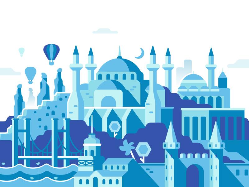 Turkey bridge illustration paxful panorama turkey landscape flat city building attractions