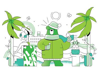 Dynamic clothing button fun character beach woman polygraphy print calendar antivirus vurus stroke it future clothes palm comix kaspersky bear illustration