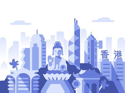 Hong Kong bitcoin paxful panorama landscape china city flat illustration hong kong