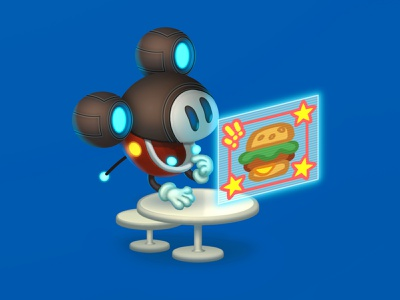 Robo-Mickey fun character illustration advertising ad hologram table future restaurant polygraphy print burger mickey robot