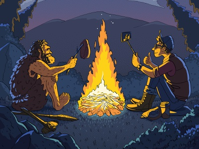 Campfire book kids comix meeting selfie meat stroke night fire ancient polygraphy print fun character illustration