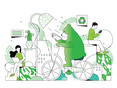 Green energy charge ecology bicycle energy bear comix design date stroke polygraphy print kaspersky character illustration calendar