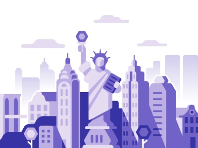 New York city panorama paxful liberty new york flat illustration