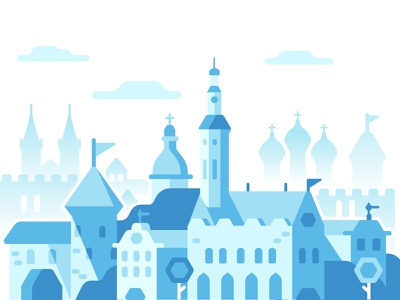 Tallinn, Estonia design illustration castle city flat