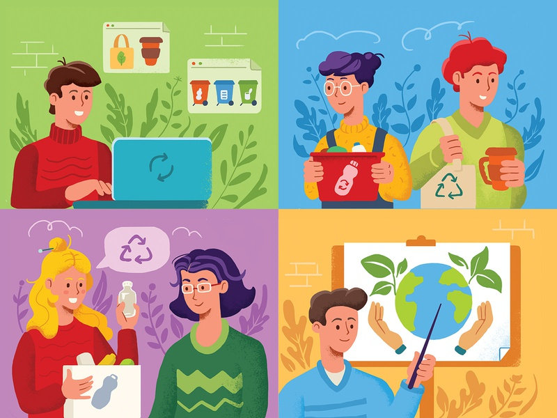 Ecology for schools poster study students school recycle separate waste eco character polygraphy print garbage pack ecology illustration