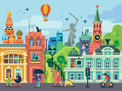 Moscow+Omsk+Volgograd summer attractions panorama fun character kremlin flat city calendar print polygraphy illustration volgograd omsk moscow