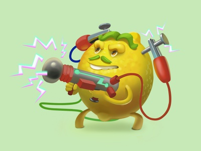 Tesla lemon blaster accumulator electricity fun print polygraphy calendar illustration character lemon tesla