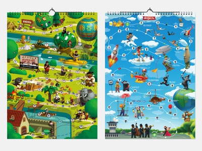 Calendar+game comix date celebration forest sky board game print polygraphy fun character illustration calendar