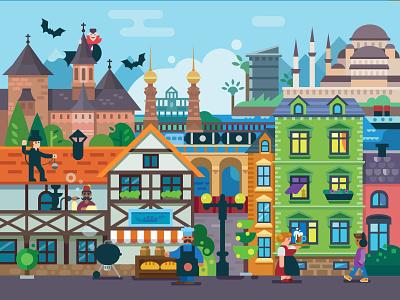 Germany+Romania+Turkey+Poland attractions city panorama flat illustration romania poland turkey germany flat polygraphy print character calendar fun illustration