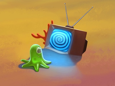 Zombie TV slug tv zombie print polygraphy calendar fun character illustration