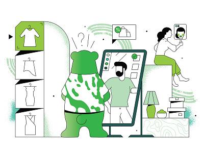 Interactive mirror comix stroke calendar kaspersky print polygraphy fun character illustration