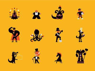 Hobby games characters hobby games board games flat vector branding design fun character illustration
