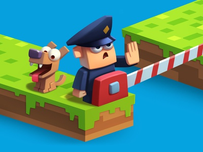 Border guard barrier border dog 3d voxel print polygraphy calendar fun character illustration