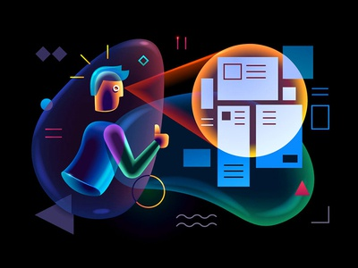 Selectivity select transparent technology software illustration hitech glowing designer character business bubbles bright