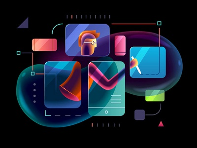 Adaptiveness transparent technology software multiply illustration hitech glowing designer character business bubbles bright