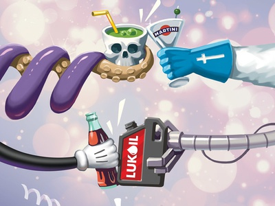 Celebration musketeer robot octopus cola mickey lukoil martini scull celebrate
