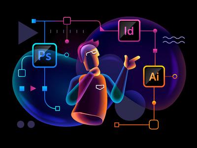 Self-definition adobe transparent technology software psychology illustration hitech glowing designer character bubbles bright