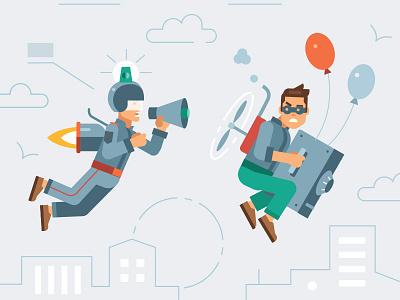 Kaspersky Lab calendar 2018/ Flying cop future thief flight cop flat kaspersky
