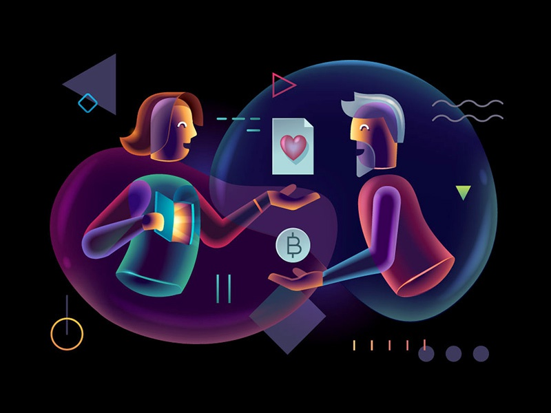 Commitment glow neon transparent technology software psychology illustration hitech glowing designer character