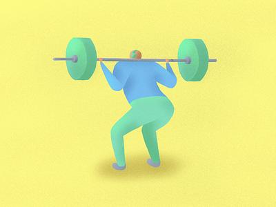 Squatting Guy - iPad Pro Illustration squat drawing illustration procreate apple pencil ipad pro