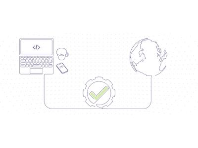 coding.blog publish banner vector ui illustration devops cloud world laptop coding blogging