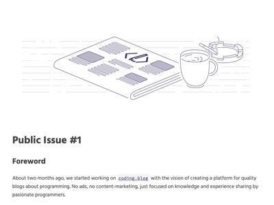 coding.blog issue header svg vector coding programming ashtray cigarette coffee magazine newspaper blogging illustration