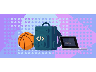 callbags design vector illustration tech basketball backpack programming