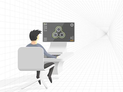 Illustration for CONNECT website, Work In Progress svg perspective sketch vector illustraion