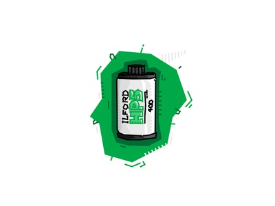 Ilford HP5 green vector analogue photography negative illustrator illustration film color abstract 35mm