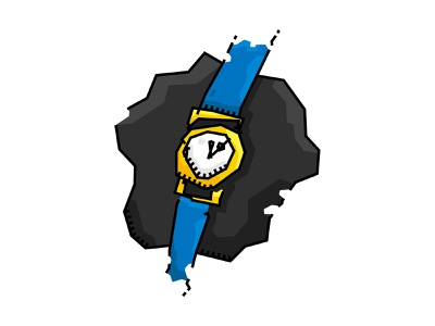 Watch blue and yellow blue vector illustrator iillustration watch