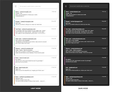Daily UI - #14 - Mail App shadow black grey white light mode dark mode search bar menu content description author subject hour tag color mail