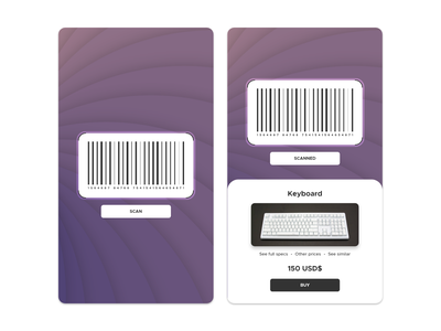 Daily UI - #21 - Scanning App cool simple rounded circles offer buy keyboard daily ui daily ui flat art product design purple illustration design app scan