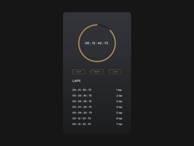 Daily UI - #22 - Stopwatch dark shot dribbble gradient flat circle timer laps lap ui design design ui daily gold stopwatch