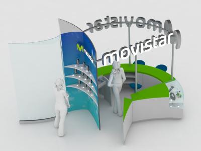 Movistar Stand render model 3d stand movistar