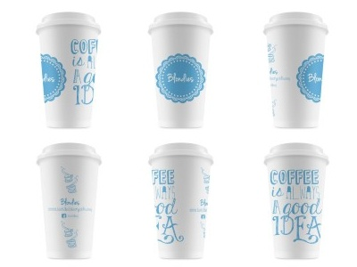 Cups! blondies coffee cups tipography