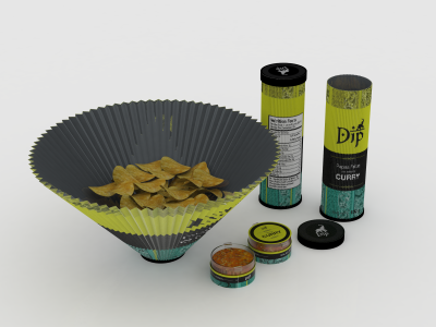 Fries packaging concept render 3d model concept packaging fries