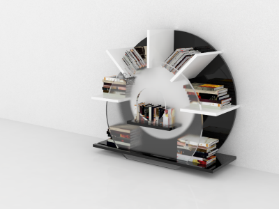Bookcase concept assemble render model 3d bookcase
