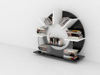 Bookcase concept assemble render model 3d bookcase