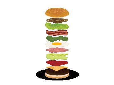 Layered hamburger! hamburger eggs jam onion lettuce meat avocado tomato vector layers bacon