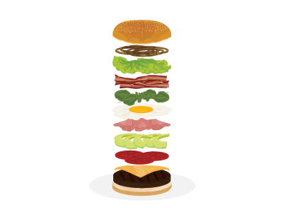 Layered hamburger! hamburger eggs jam onion lettuce meat avocado tomato vector layers bacon