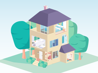 Isometric house illustration flat infographic home house isometric
